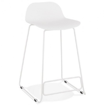 Bar stool barstool design mid-height Ulysses MINI feet (white) white metal