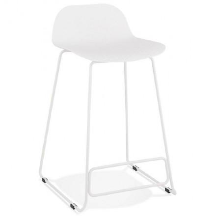 Tabouret de bar chaise de bar mi-hauteur design ULYSSE MINI pieds métal blanc (blanc)