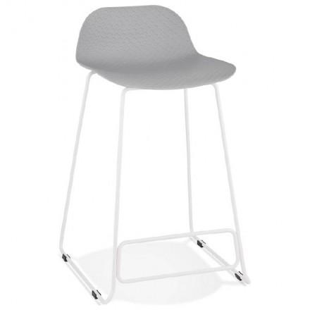 Tabouret de bar chaise de bar mi-hauteur design ULYSSE MINI pieds métal blanc (gris clair)