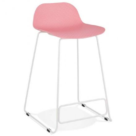 Tabouret de bar chaise de bar mi-hauteur design ULYSSE MINI pieds métal blanc (rose poudré)