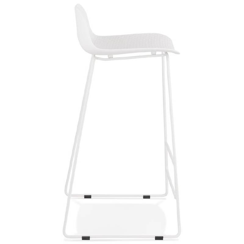 Tabouret de bar chaise de bar design ULYSSE pieds métal blanc (blanc) - image 37930