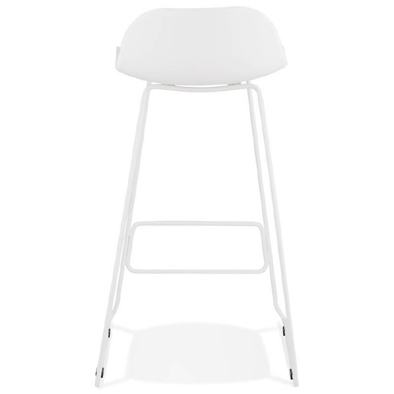 Tabouret de bar chaise de bar design ULYSSE pieds métal blanc (blanc) - image 37932