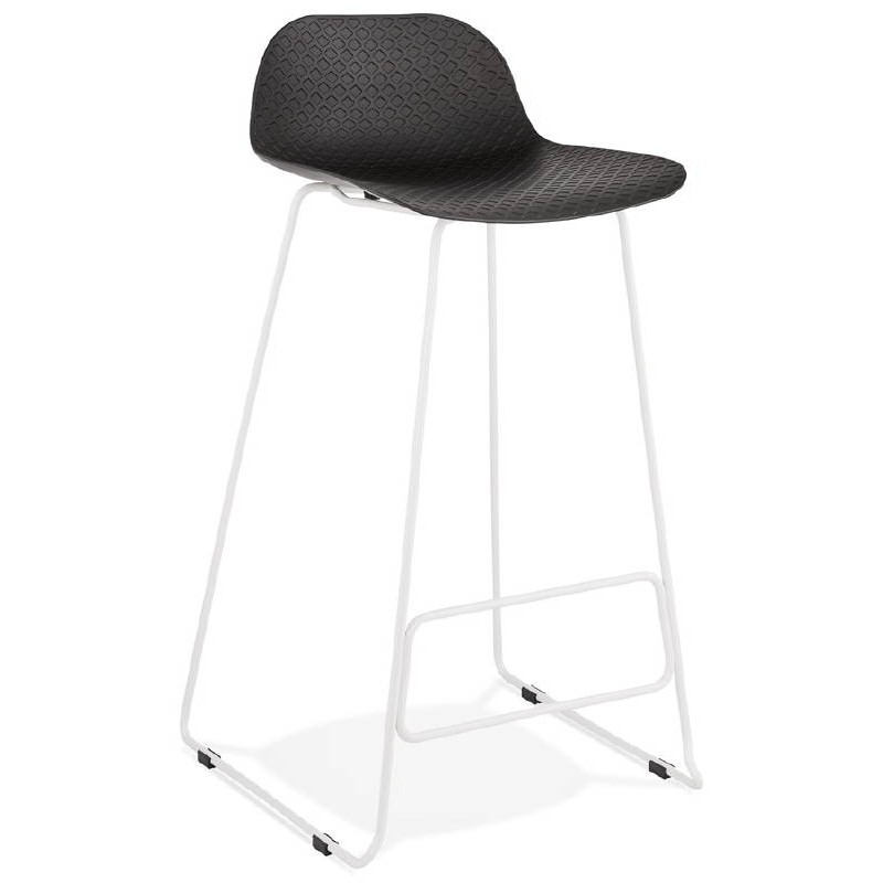 ULYSSE Design Bar Chair Barstool With White Metal Legs (black)   Image  37942 ...