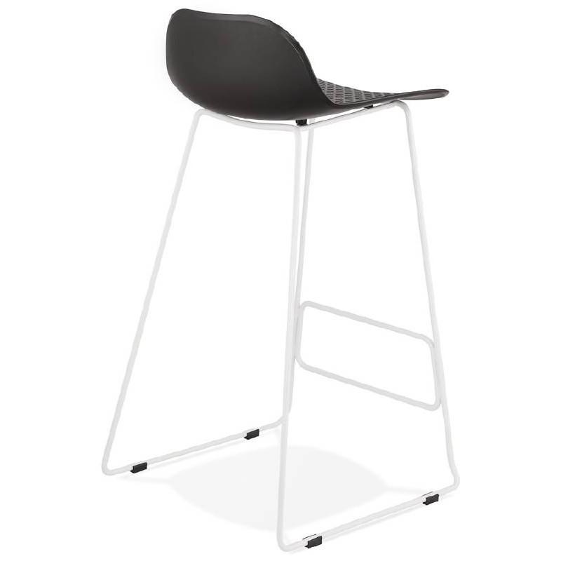 Bar bar design Ulisse bianche gambe in metallo (nero) sedia sgabello