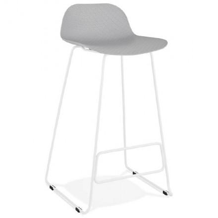 Bar taburete taburete de bar diseño Ulises pies blanco metal (gris claro)