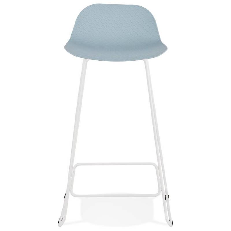 Tabouret de bar chaise de bar design ULYSSE pieds métal blanc (bleu ciel) - image 37969