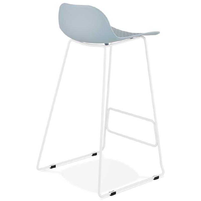 Tabouret de bar chaise de bar design ULYSSE pieds métal blanc (bleu ciel) - image 37971