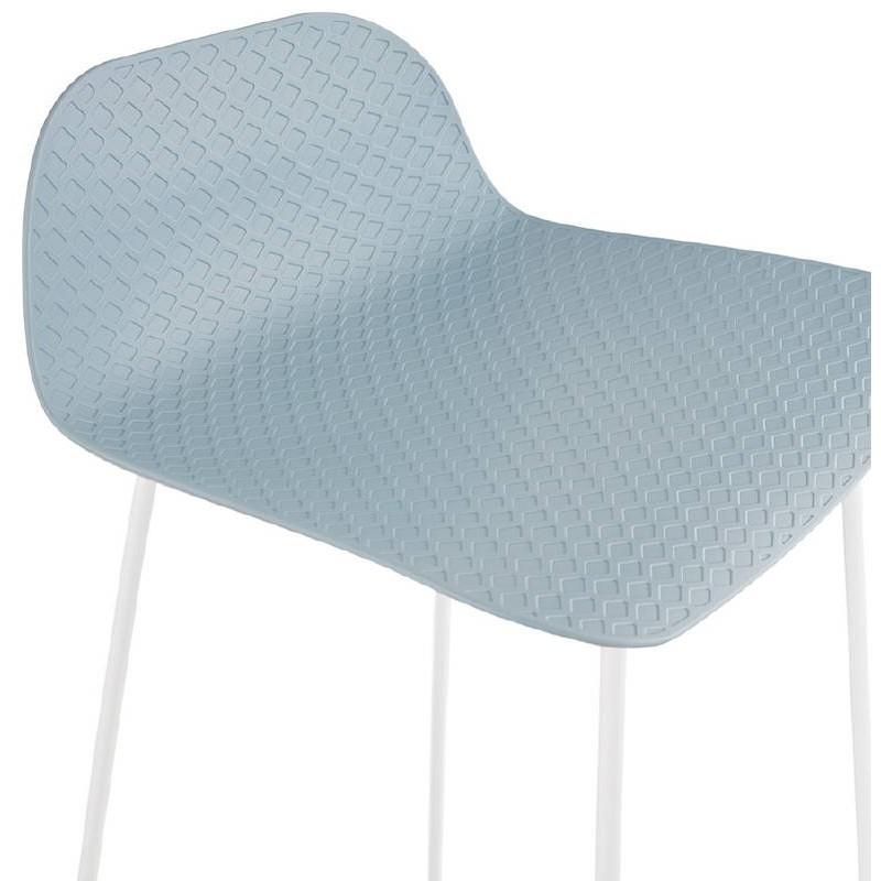 Tabouret de bar chaise de bar design ULYSSE pieds métal blanc (bleu ciel) - image 37973
