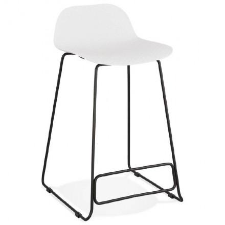 Tabouret de bar chaise de bar mi-hauteur design ULYSSE MINI pieds métal noir (blanc)