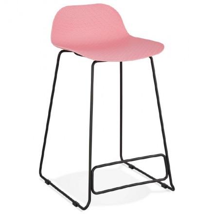 Tabouret de bar chaise de bar mi-hauteur design ULYSSE MINI pieds métal noir (rose poudré)
