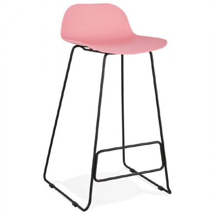 Bar stool barstool design Ulysses feet black metal (powder pink)
