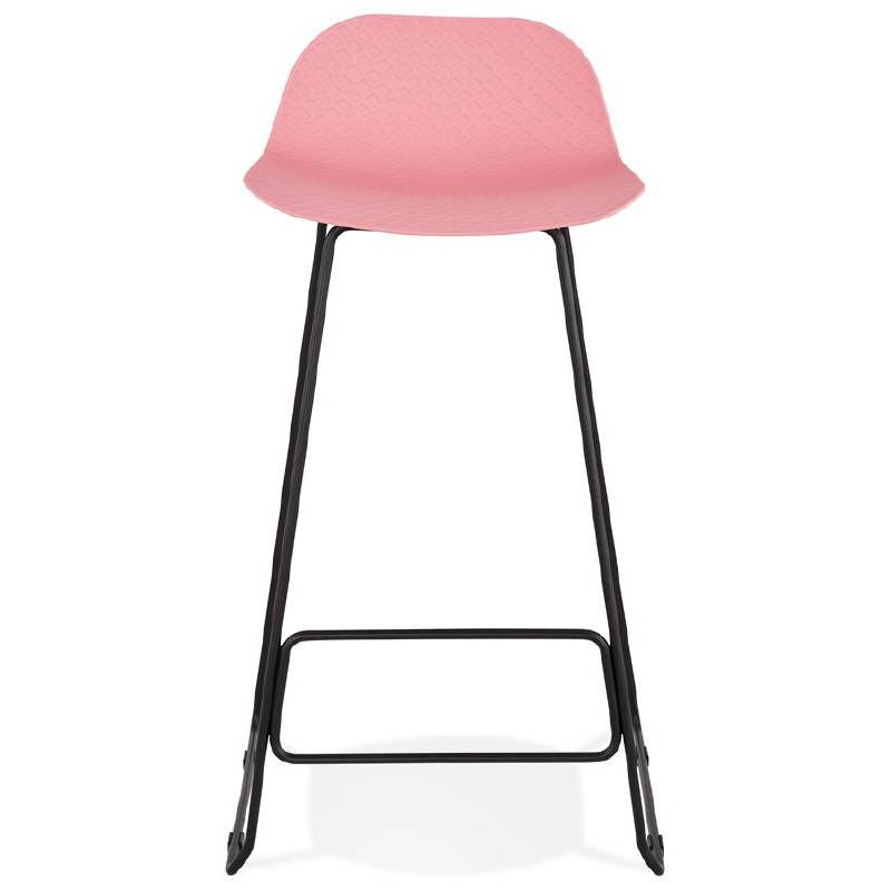 Tabouret De Bar Chaise Design ULYSSE Pieds Metal Noir Rose Poudre