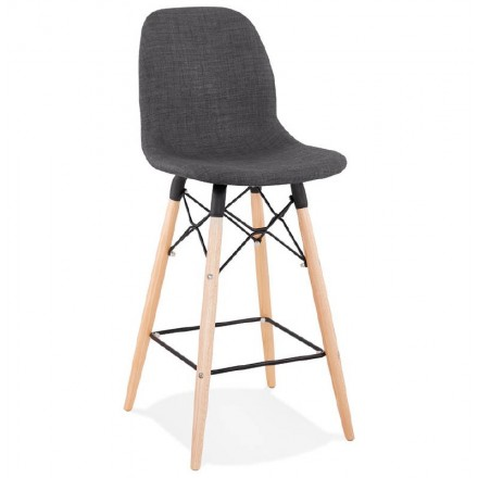 Tabouret de bar chaise de bar mi-hauteur scandinave PAOLO (gris foncé)