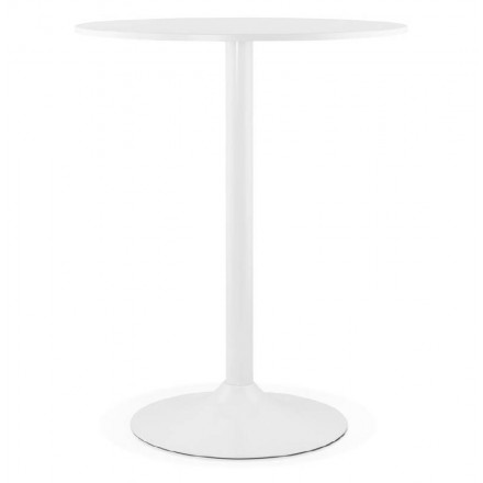 Table high high table LUCIE design wooden feet metal (Ø 90 cm) (white)