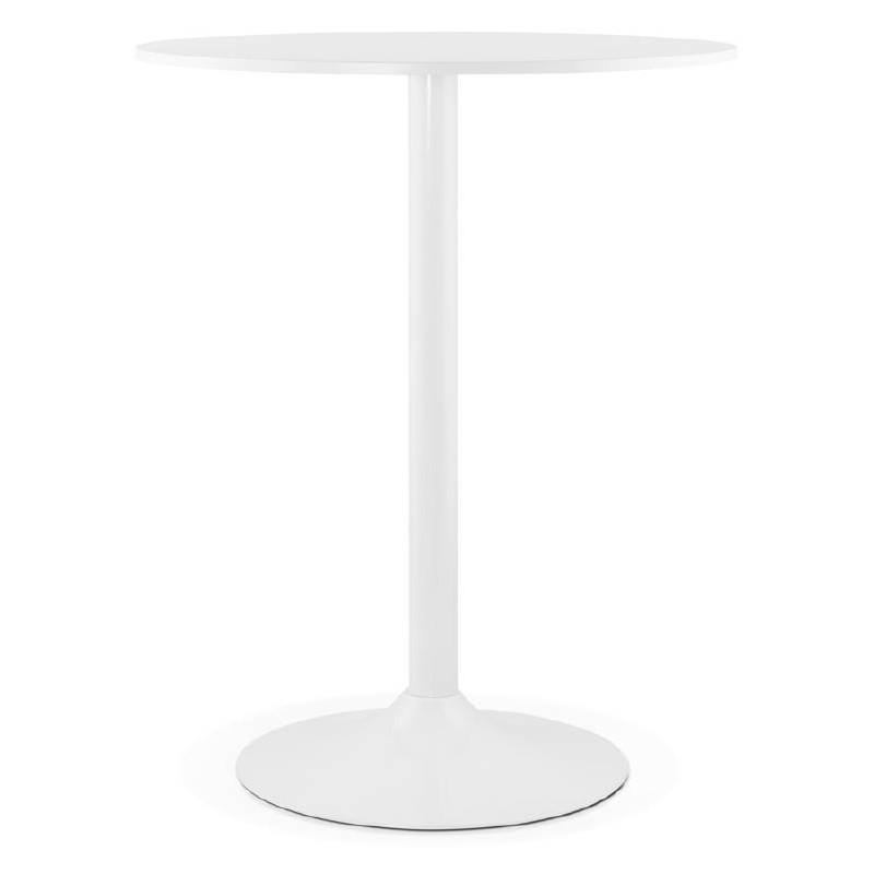 Table haute mange-debout design LUCIE en bois pieds métal blanc (Ø 90 cm) (blanc)