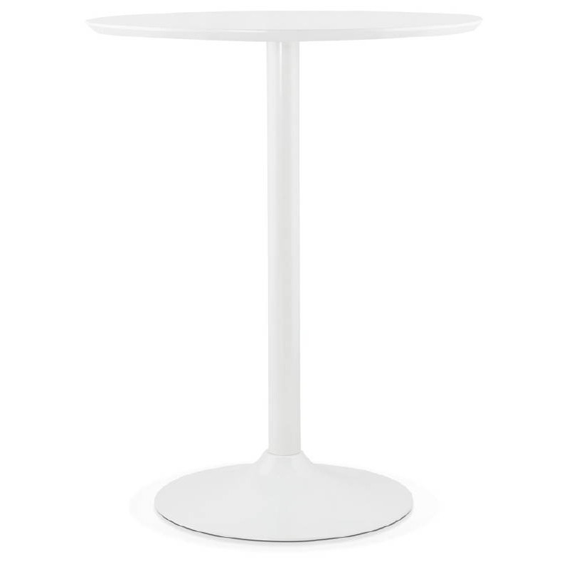 Table haute mange-debout design LAURA en bois pieds métal blanc (Ø 90 cm) (blanc)