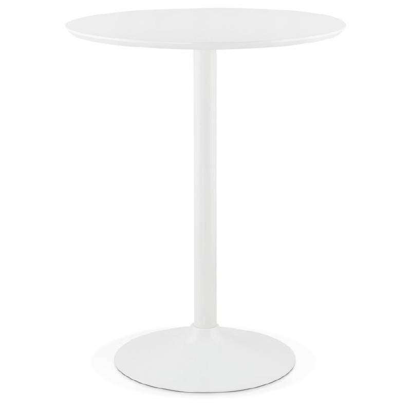 Table haute mange-debout design LAURA en bois pieds métal blanc (Ø 90 cm) (blanc) - image 38263