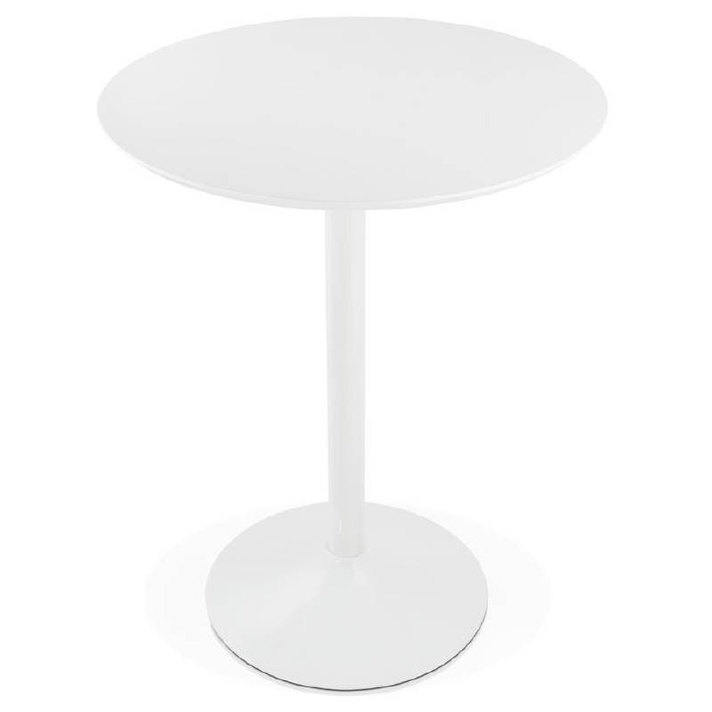 Table haute mange-debout design LAURA en bois pieds métal blanc (Ø 90 cm) (blanc) - image 38264