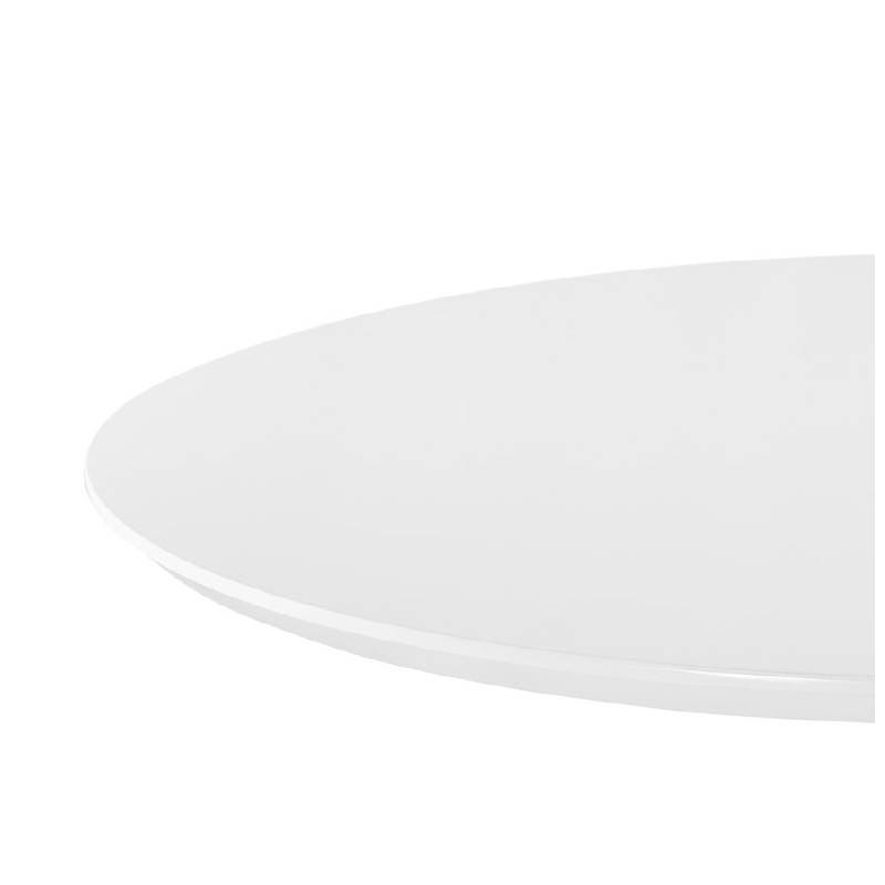 Table haute mange-debout design LAURA en bois pieds métal blanc (Ø 90 cm) (blanc) - image 38265
