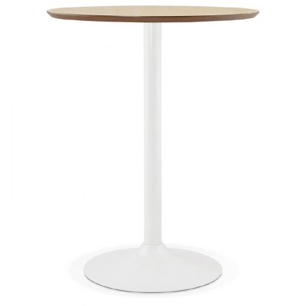 Table high high table LAURA design wooden feet white metal (Ø 90 cm) (natural oak finish)