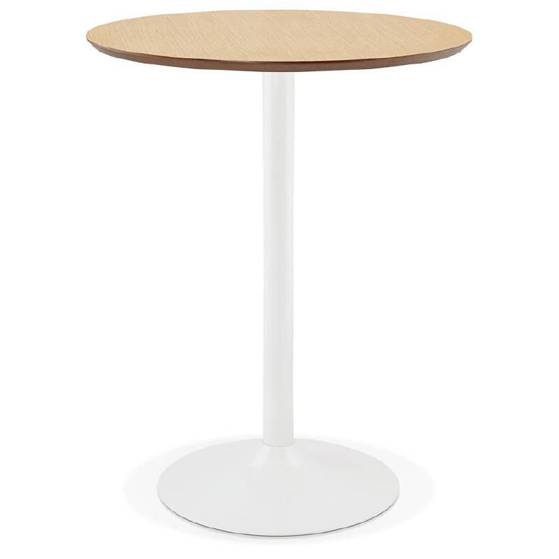 Table haute mange-debout design LAURA en bois pieds métal blanc (Ø 90 cm) (finition chêne naturel) - image 38271