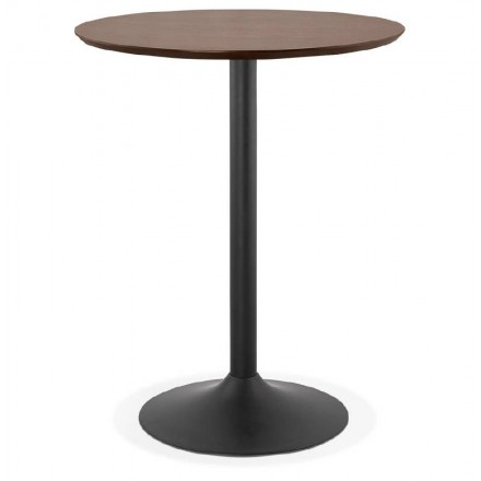 Table high high table LAURA design wooden feet black metal (Ø 90 cm) (Walnut Finish)