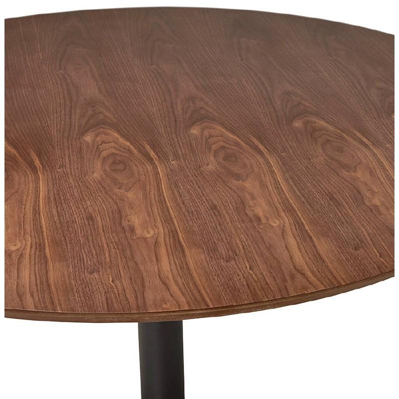 Table haute mange-debout design LAURA en bois pieds métal noir (Ø 90 cm) (finition noyer) - image 38289