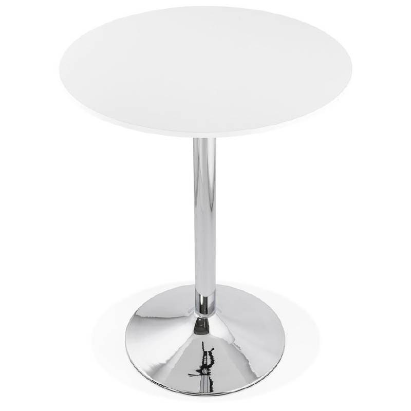 Table haute mange-debout design LUCIE en bois pieds métal chromé (Ø 90 cm) (blanc) - image 38300