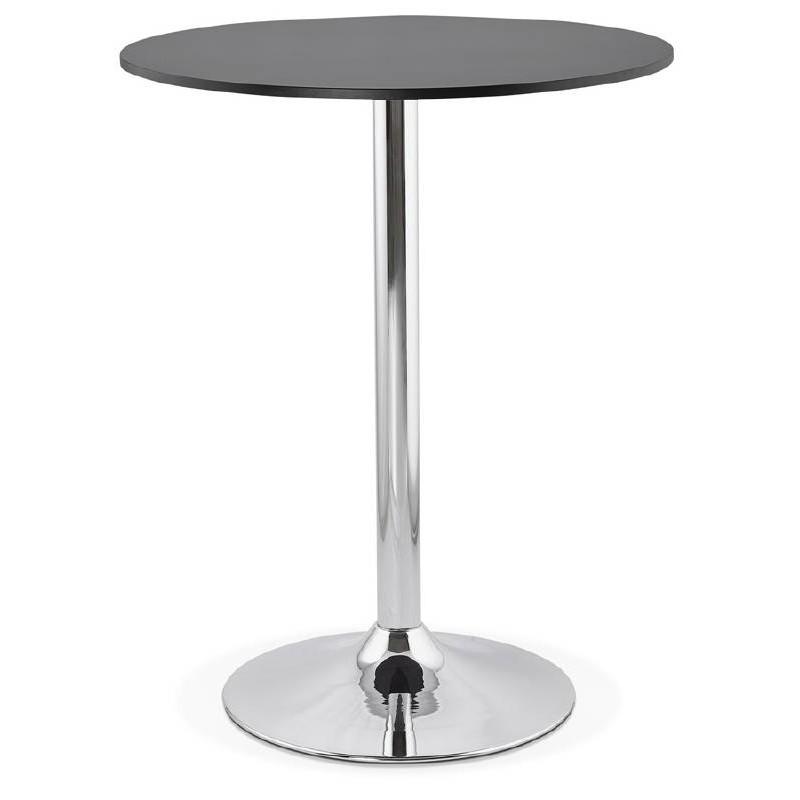 Table haute mange-debout design LUCIE en bois pieds métal chromé (Ø 90 cm) (noir) - image 38306