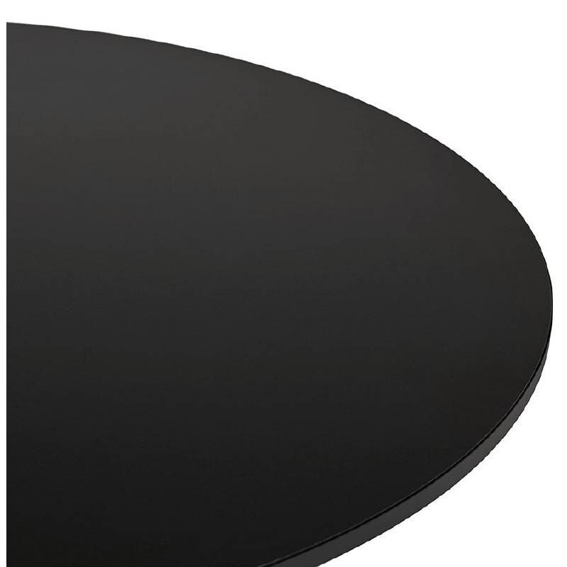Table haute mange-debout design LUCIE en bois pieds métal chromé (Ø 90 cm) (noir) - image 38309