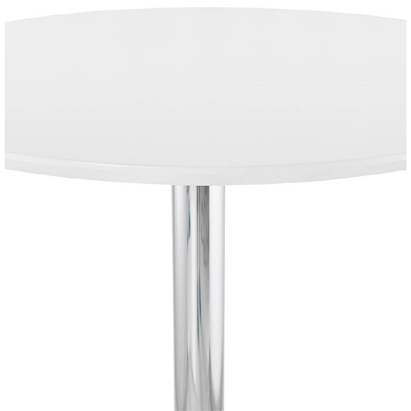 Table haute mange-debout design LAURA en bois pieds métal chromé (Ø 90 cm) (blanc) - image 38315