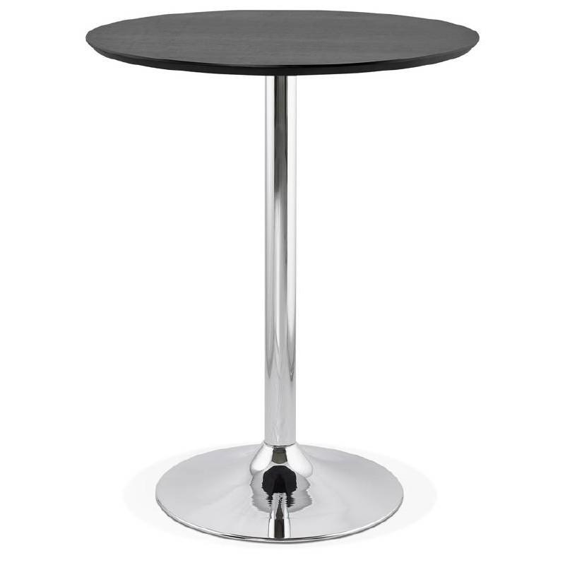 Table haute mange debout design laura en bois pieds m tal chrom 90 cm noir - Mange debout bois metal ...