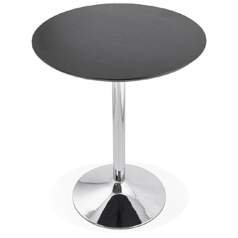 Table haute mange-debout design LAURA en bois pieds métal chromé (Ø 90 cm) (noir) - image 38326
