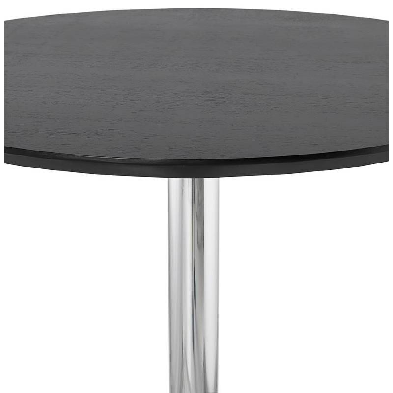 table haute mange debout design laura en bois pieds m tal chrom 90 cm noir. Black Bedroom Furniture Sets. Home Design Ideas