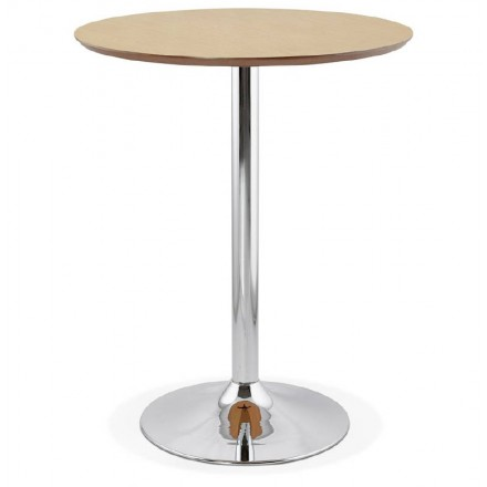 Table high high table LAURA design wooden feet chrome metal (Ø 90 cm) (natural oak finish)