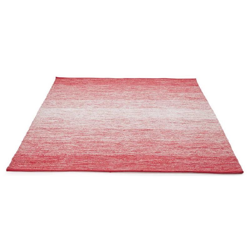 Tapis design rectangulaire (230 cm X 160 cm) BASILE en coton (rouge) - image 38542