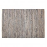 Carpet design rectangular (230 cm X 160 cm) BELINDA in jeans and hemp (blue, Brown)