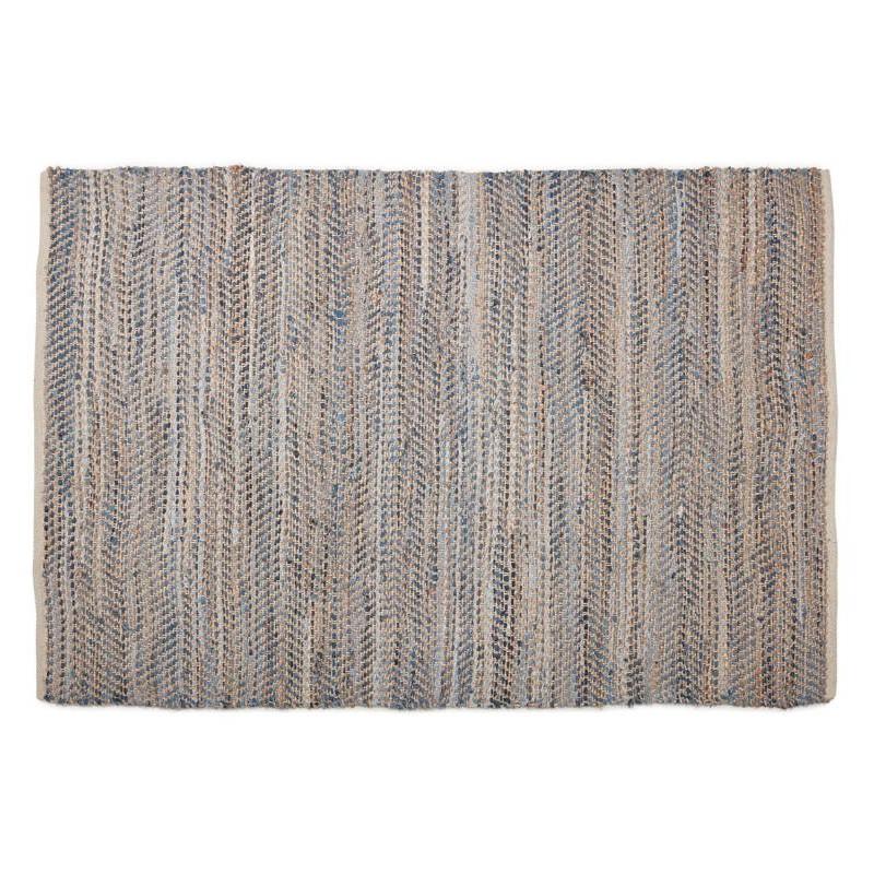 Tapis design rectangulaire (230 cm X 160 cm) BELINDA en jeans et chanvre (bleu, marron)