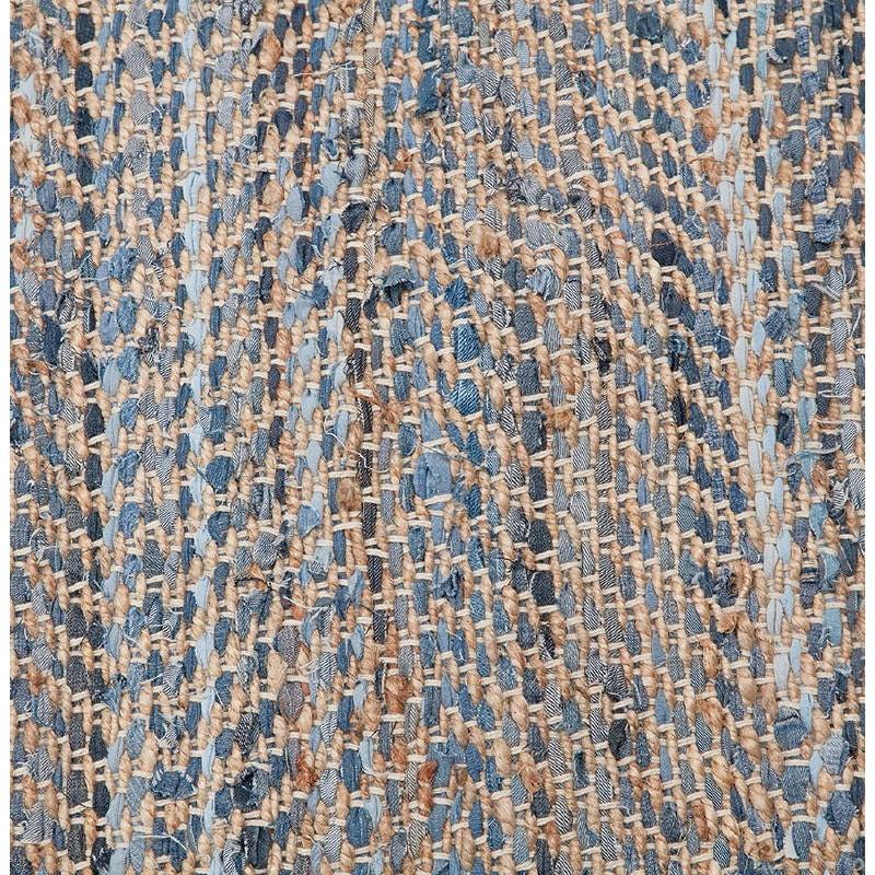 Tapis design rectangulaire (230 cm X 160 cm) BELINDA en jeans et chanvre (bleu, marron) - image 38570