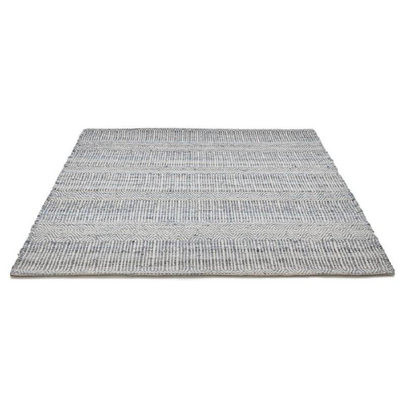 Tapis design rectangulaire (230 cm X 160 cm) BALBINE en jeans et laine (bleu, beige) - image 38576