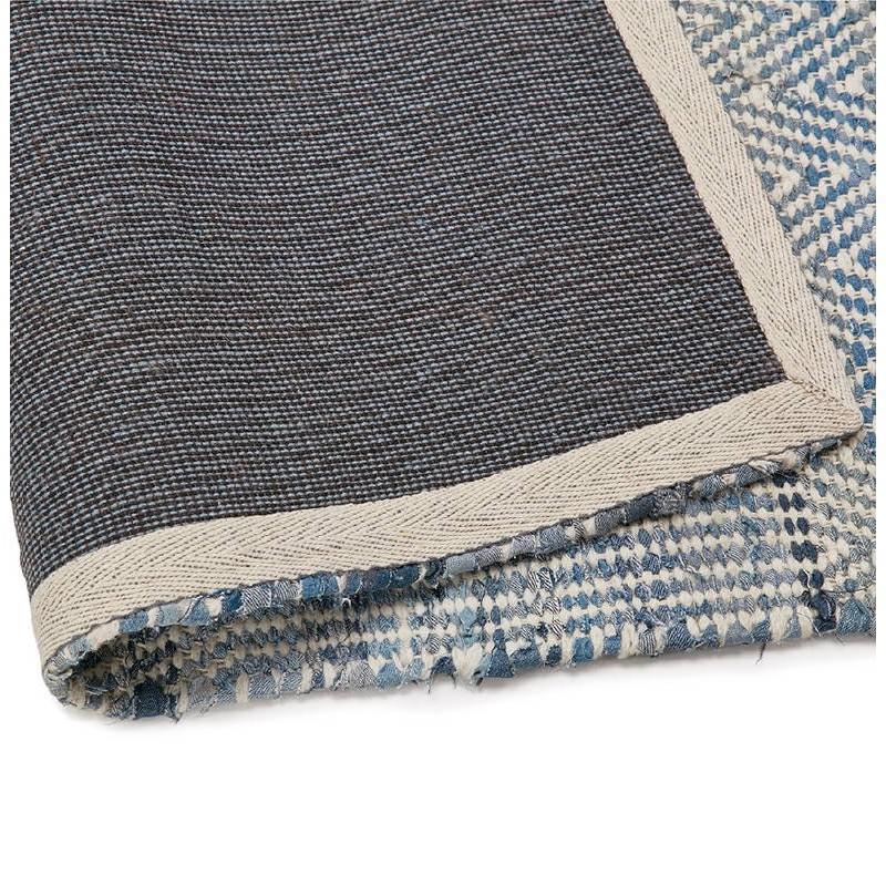 Tapis design rectangulaire (230 cm X 160 cm) BALBINE en jeans et laine (bleu, beige) - image 38579