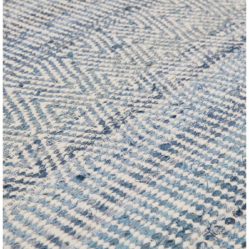 Tapis design rectangulaire (230 cm X 160 cm) BALBINE en jeans et laine (bleu, beige) - image 38583