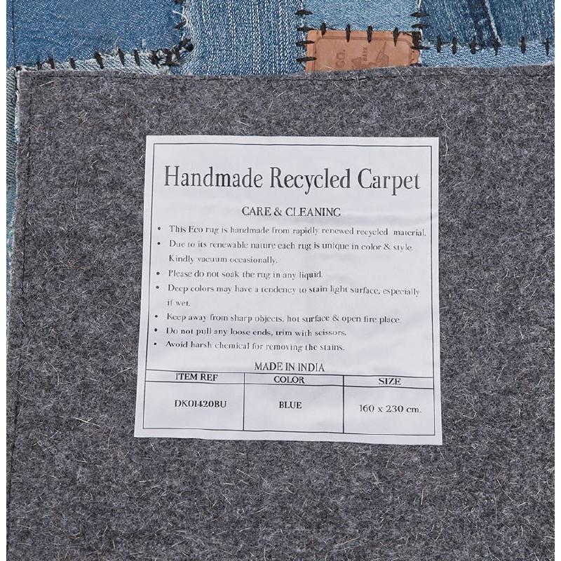 Tapis fun rectangulaire (230 cm X 160 cm) GABIE en jeans (bleu) - image 38617