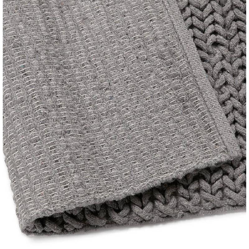 tapis design rectangulaire 230 cm x 160 cm tricot en coton gris. Black Bedroom Furniture Sets. Home Design Ideas