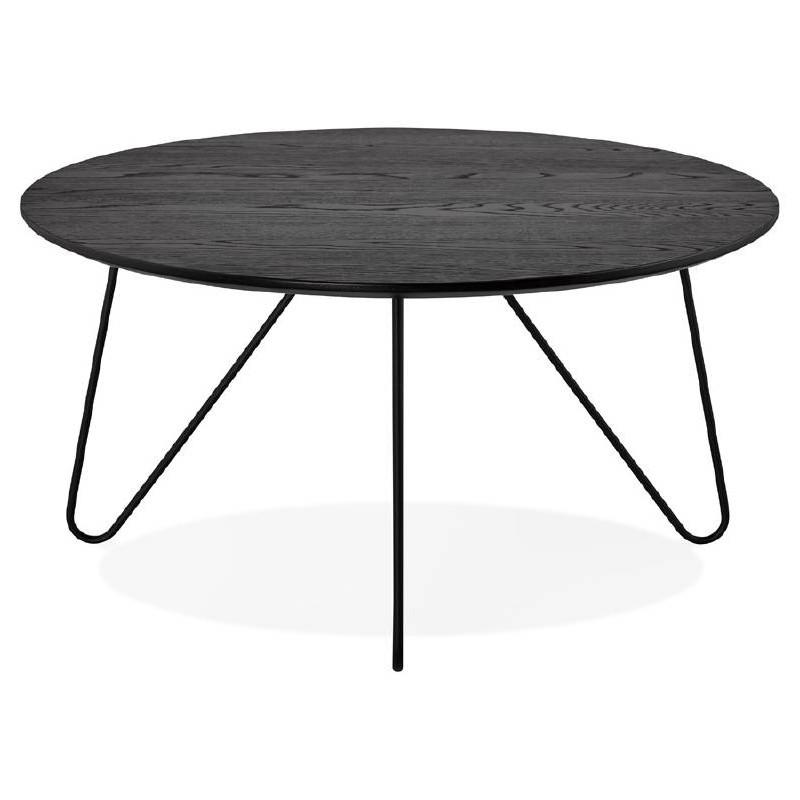 Table basse design style industriel FRIDA en bois et métal (noir) - image 38686