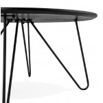 Table basse design style industriel FRIDA en bois et métal (noir)