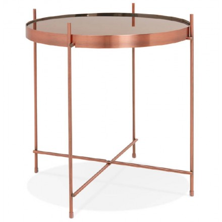 Folding side table, end table ZOE in glass and metal (copper)
