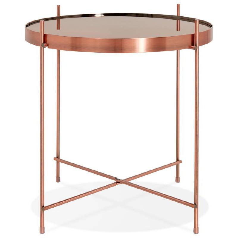 table d 39 appoint pliable bout de canap zoe en verre et m tal cuivre. Black Bedroom Furniture Sets. Home Design Ideas