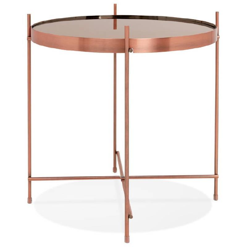 Table d'appoint pliable, bout de canapé ZOE en verre et métal (cuivre) - image 38697