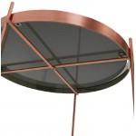 Table d'appoint pliable, bout de canapé ZOE en verre et métal (cuivre)